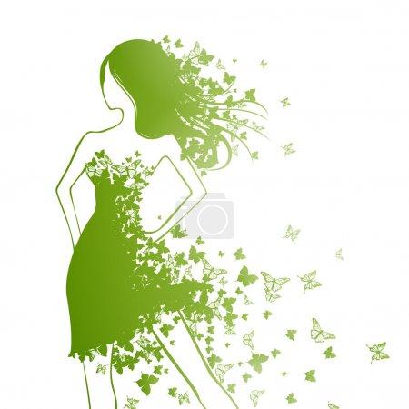 Illustration pour Illustration vectorielle de belle femme avec robe papillon - image libre de droit