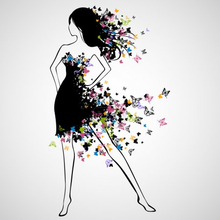 Illustration for Vector Illustration of Beautiful Woman with Butterfly Dress - Royalty Free Image