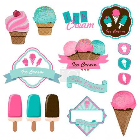 Illustration pour Illustration vectorielle des insignes et étiquettes du logo de la crème glacée - image libre de droit