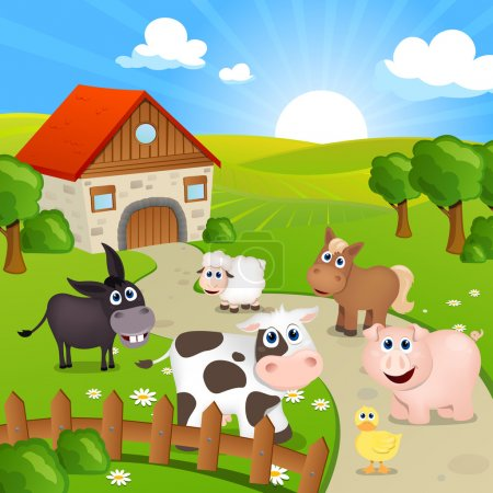 Illustration for Vector Illustration of Farm house and cute farm animals - Royalty Free Image