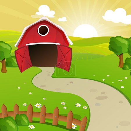 Illustration for Vector Illustration of a Farm in front of a Rural Landscape with Fields and Hills - Royalty Free Image