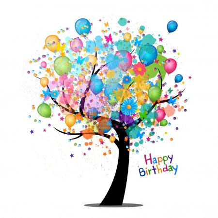 Illustration for Vector Illustration of a Happy Birthday Greeting Card - Royalty Free Image