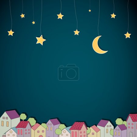Illustration for Vector Illustration of a Little Town at Night - Royalty Free Image