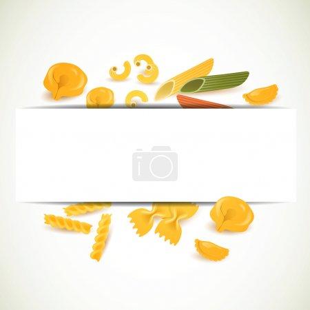 Illustration pour Illustration vectorielle d'un arrière-plan avec différents types de pâtes - image libre de droit