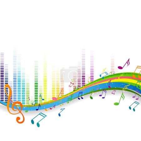 Ilustración de Vector ilustración de un fondo abstracto con notas musicales - Imagen libre de derechos
