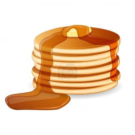 Vector Illustration of Pancakes with Maple Syrup a...