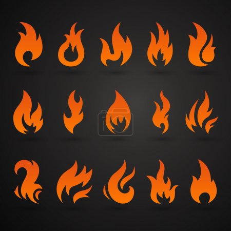 Illustration for Vector Illustration of Abstract Fire Icons - Royalty Free Image