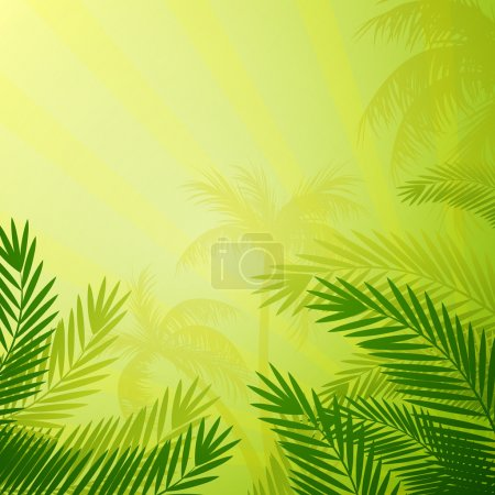 Illustration pour Illustration vectorielle d'un fond naturel avec des palmiers - image libre de droit