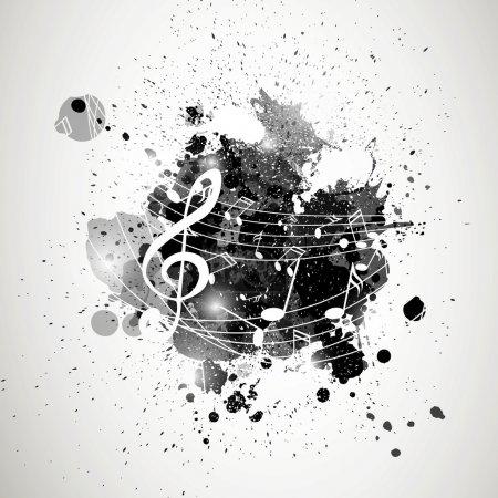 Illustration pour Illustration vectorielle d'un fond abstrait avec notes de musique - image libre de droit