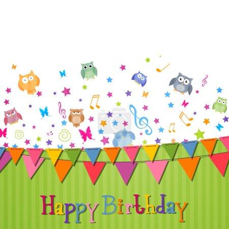 Ilustración de Vector ilustración de una tarjeta del feliz cumpleaños - Imagen libre de derechos