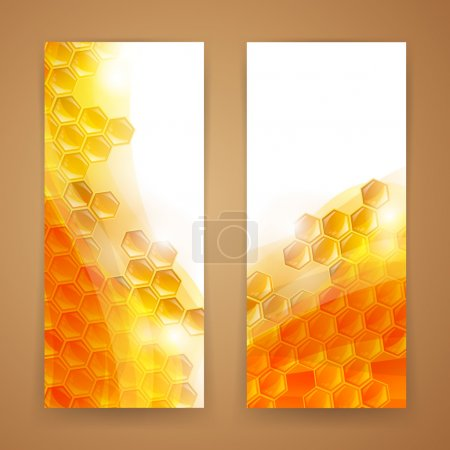 Illustration for Vector Illustration of Two Abstract Honey Banners - Royalty Free Image