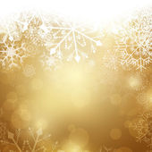 Vector Illustration of an Abstract Golden Christmas Background with Snowflakes