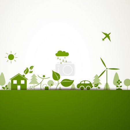 Illustration for Vector Illustration of a Green Ecology Background - Royalty Free Image