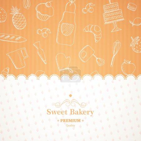 Illustration pour Illustration vectorielle d'un fond de boulangerie - image libre de droit