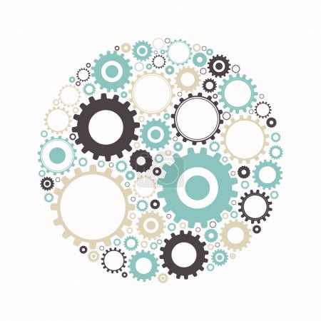 Illustration for Vector Illustration of Abstract Cog Wheels - Royalty Free Image
