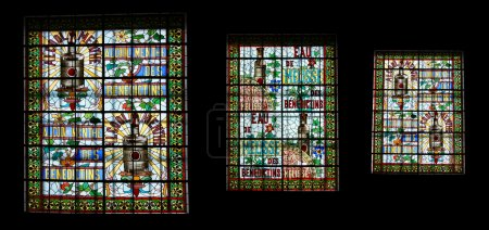 Stained glass window. Benedictine Palace Museum