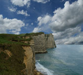 White cliffs and natural arches at Etretat