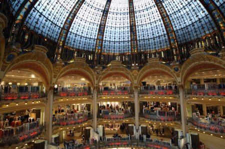 Ceiling of the Lafayette luxury shopping mall in Paris
