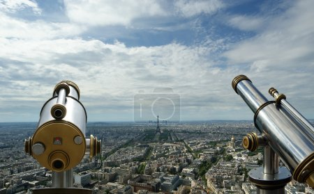 Telescope viewer and city skyline at daytime. Paris, France
