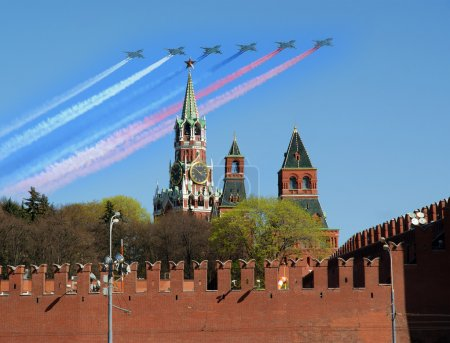 Russian military aircrafts fly in formation over Red Square