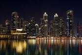 City skyline from Dubai Mall near Burj Khalifa by night
