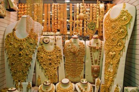 Gold jewelry for sale in the market, Deira, Dubai