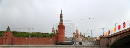 Russian military aircrafts fly in formation over Red Square during Victory Day parade, Moscow, Russia.