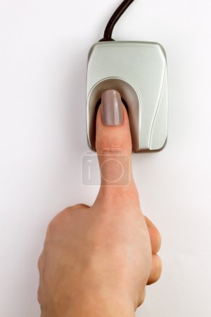 Finger on a biometric fingerprint device