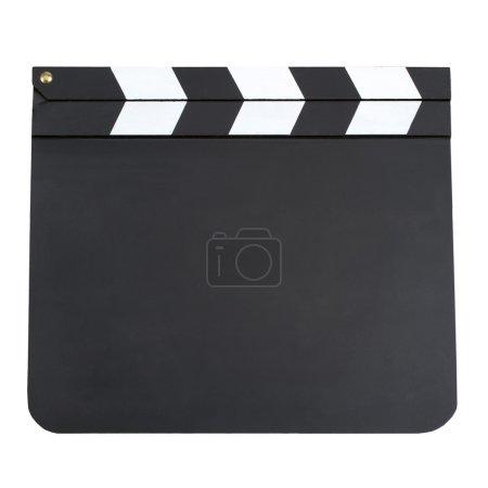 Photo pour Panneau de battement de production de film vierge avec espace de copie isolé sur fond blanc. Panneau d'ardoise vierge isolé sur fond blanc - image libre de droit