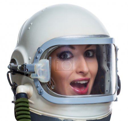 Woman in space helmet