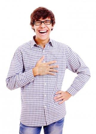 Photo pour Un rigolo avec la main sur la poitrine. Isolé sur fond blanc, masque inclus - image libre de droit