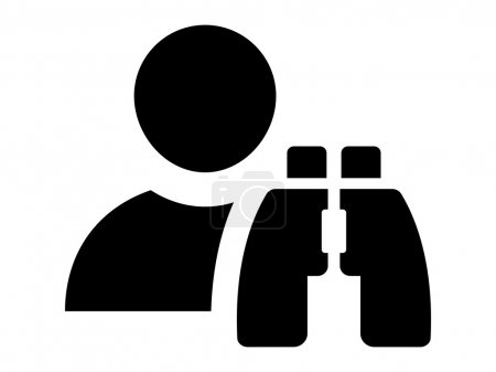 Illustration for User profile and binoculars over white background - Royalty Free Image