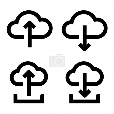 Cloud upload and download icon set