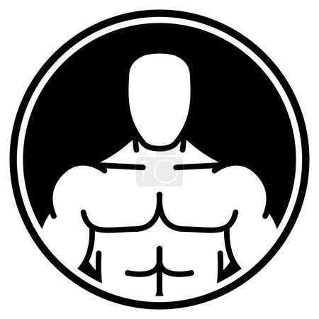 Illustration pour Signe de vecteur d'homme musclé sur un cercle noir - image libre de droit
