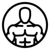 Strong man symbol in circle
