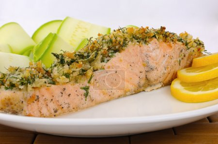 Baked salmon with a spicy crust