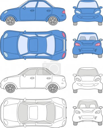Illustration for Passenger car (colored and outlined top, side, back, front view), isolated on white background - Royalty Free Image