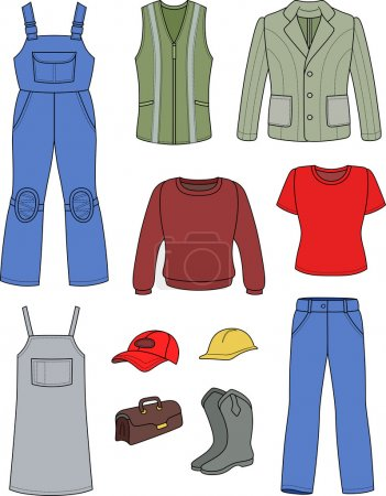 Worker, plumber man, woman fashion set