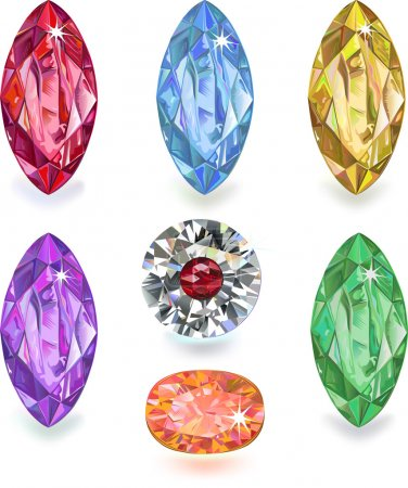 Illustration for Set of colored gems isolated on white background - Royalty Free Image
