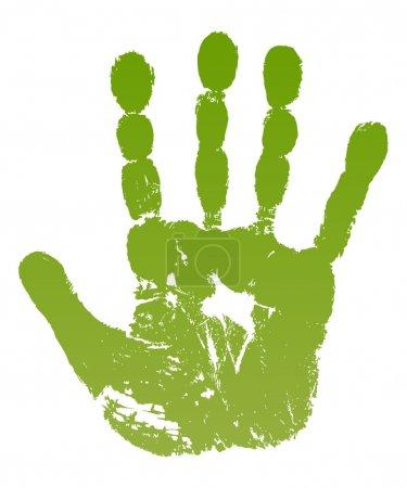 Illustration pour Illustration vectorielle vieil homme imprimé main verte isolé sur fond blanc. Créé dans Adobe Illustrator. L'image contient des dégradés. SPE 8 . - image libre de droit
