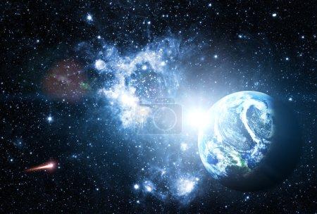 Photo pour Terre planète bleue dans l'espace. - image libre de droit