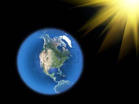 Photo pour Planète bleue Terre sur blanc - image libre de droit