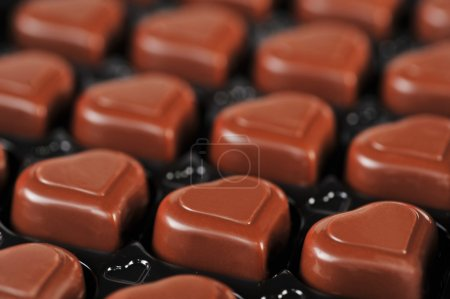 Photo for Heart shape delicious chocolate in box close-up - Royalty Free Image