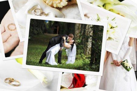 Photo pour Pile de photos de mariage - image libre de droit