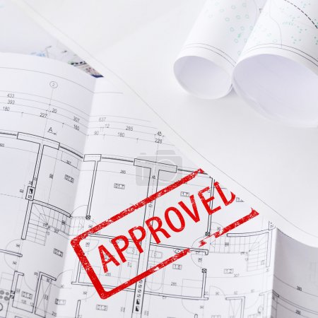 Photo for Heap of design and project drawings on table background - Royalty Free Image