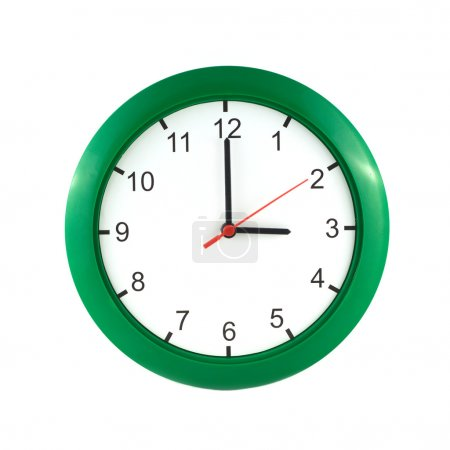 Three o'clock  on green wall clock