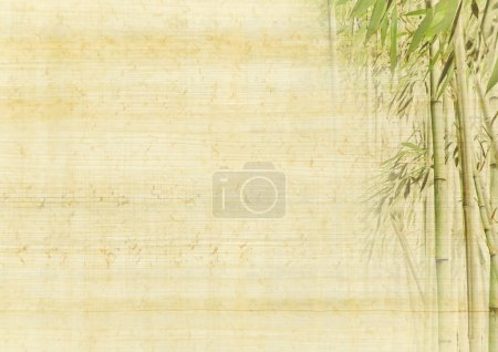 Photo for Chinese ancient background with bamboo. Japanese manuscript - grunge antique paper texture. - Royalty Free Image