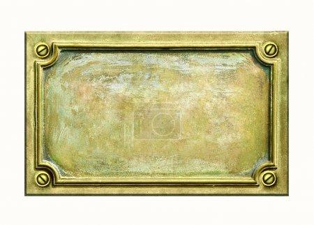 Photo pour Plaque métal avec cadre et texture grunge pour votre texte. Plaque antique en laiton avec fissures et rayures sur la surface dorée . - image libre de droit