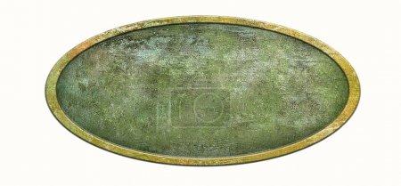 Photo pour Étiquette vintage en bronze de l'ancien emballage isolé sur blanc. Plaque en laiton avec fond texturé. Plaque métal avec cadre ovale et texture grunge pour votre design . - image libre de droit