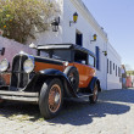 Vintage car in Colonia del Sacramento street. The ...